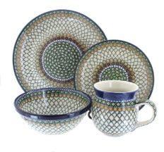 Blue Rose Polish Pottery Tranquility 16 Piece Dinner Set