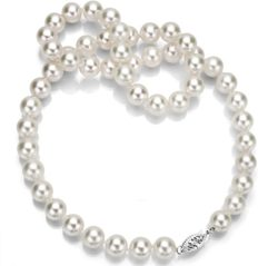 """14k White Gold 6.5-7mm AAA Hand-picked White Akoya Cultured Pearl Necklace, 18"""""""