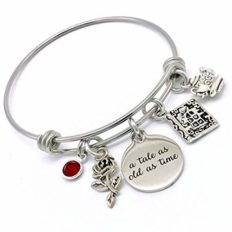 Jesse Janes Jewelry | Handmade Bracelets, Beauty And The Beast Inspired Gifts For Women, Pulseras de Mujer, Rose Bracelet, Once Upon A Time Charm Bracelet, Princess Belle, A Tale As Old As Time Gift