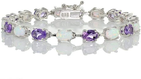 Ice Gems Sterlilng Silver Amethyst and Created White Opal 7x5mm Oval-Cut Tennis Bracelet