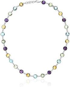 Gem Stone King 925 Sterling Silver 8MM Round Amethyst Blue-Topaz & Citrine 43.00 Carat Necklace 18 Inch
