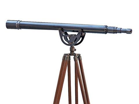 "Hampton Nautical ST-0148-Black Floor Standing Oil-Rubbed Bronze Anchormaster 65""-Vintage Scope-Old Telescope"