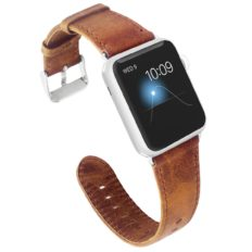 KADES for Apple Watch Band 42mm, Leather for Apple Watch Band 44mm Series 4 iWatch Bands 42mm (Brown, with Silver Hardware)