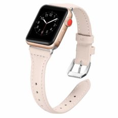 Secbolt Leather Bands Compatible with Apple Watch Band 38mm 40mm Iwatch SE Series 6 5 4 3 2 1 Slim Replacement Wristband Strap Stainless Steel Buckle, Beige