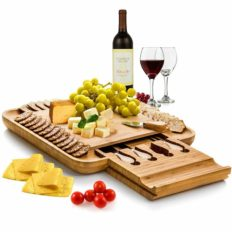 Bambüsi Premium Bamboo Cheese Board Set - Wooden Charcuterie Board Serving Platter and Knife Set with Hidden Slid-Out Drawer - Ideal Gift for Wedding, Housewarming, Bridal Shower, Birthday
