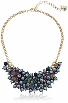 """Betsey Johnson """"You Give Me Butterflies"""" Shaky Pave Butterfly and Pearl Bib Necklace, 16"""" + 3"""" Extender"""
