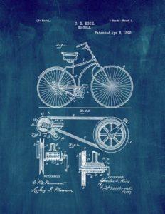 "Bicycle Patent Print Midnight Blue (8.5"" x 11"") M11113"
