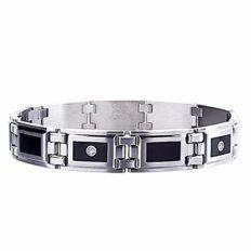 "STEL Stainless Steel Black Enamel Inlay and .12ct tw Diamond Bracelet 8 1/2"""
