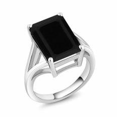 Gem Stone King 925 Sterling Silver Black Onyx Solitaire Ring 6.60 Ct Gemstone Birthstone, 14x10mm Emerald Cut (Available 5,6,7,8,9)