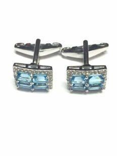 925 Sterling Silver Cufflinks Stone Swiss Blue Topaz Wedding Engagement for Men