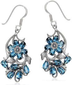 Silvershake Genuine London Blue Topaz 925 Sterling Silver Flower Leaf Dangle Hook Earrings