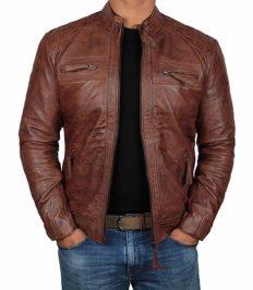 fjackets Brown Leather Jackets Men for Bikers - Distressed Lambskin Biker Brown Jacket Men | [1100085],Johnson Brown,XL