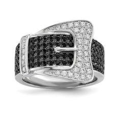 925 Sterling Silver Cubic Zirconia Cz Buckle Band Ring Fine Jewelry For Women Gifts For Her