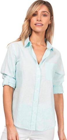 CAMIXA Womens Linen Shirts Blouses Work Casual Tops Loose Button Down XS Celeste
