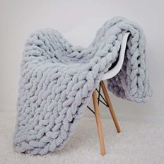 clootess Chunky Knit Blanket Chenille Throw - Warm Soft Cozy for Sofa Bed Boho Home Decor (Grey 40x48 in)