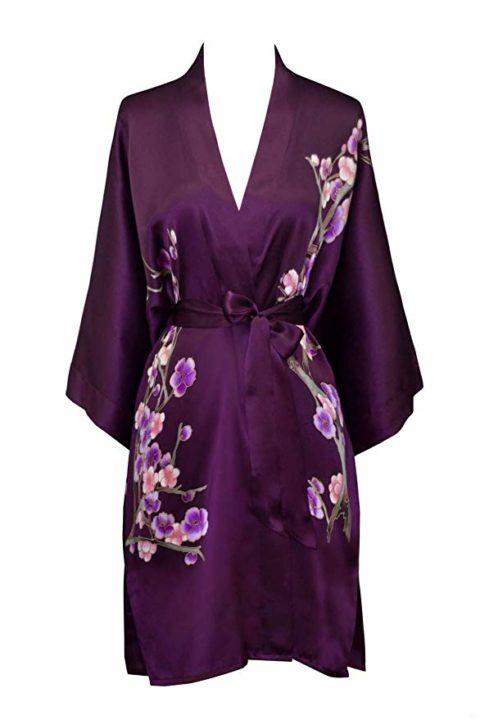 Kim+ONO Women's Silk Kimono Robe Short - Handpainted Cherry Blossom - Plum (Purple)