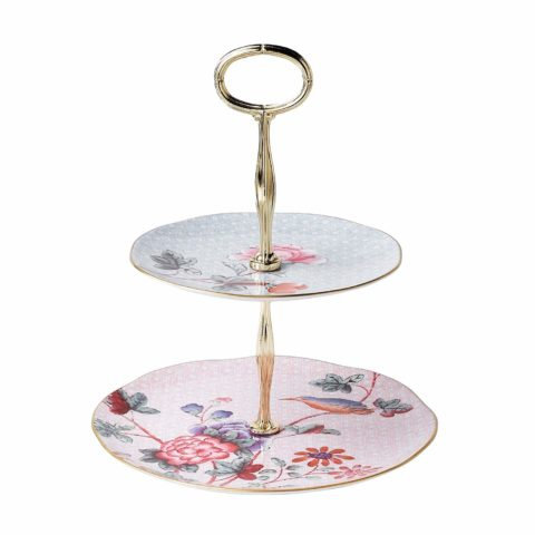 Wedgwood Cuckoo 2 Tiered Cake Stand, Multi Floral