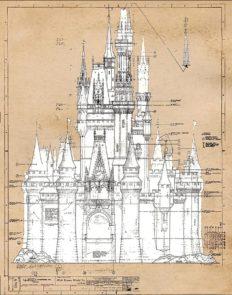 Cinderella Castle Vintage Patent Poster Prints,1 (11x14) Unframed Photos, Wall Art Decor Gifts Under 15 for Home, Office, Nursery, Student, Teacher, Women, Adult, Disney Princess Decorations Fan