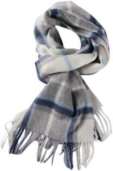 WAMSOFT 100% Wool Plaid Scarf for Women, Mens Blue Fashion Pashmina Shawl Face Wrap Super Soft Fashion Tartan Scarf Spring Large Stole Scarf Birthday Gift(Sapphire Plaid)