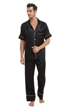 MI CHIAMO Mens Silk Satin Pajamas Set,Classic Satin Sleepwear