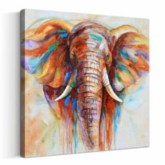 Artinme Original Design Large Contemporary Abstract Colourful Elephant Painting on Canvas Print Wall Art Picture for Living Room Bedroom Wall Decor (28 x 28 inch, Framed)