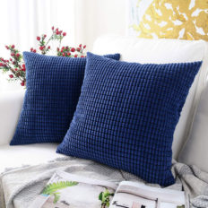 MERNETTE Pack of 2, Corduroy Soft Decorative Square Throw Pillow Cover Cushion Covers Pillowcase, Home Decor Decorations for Sofa Couch Bed Chair 20x20 Inch/50x50 cm (Granules Dark Blue)