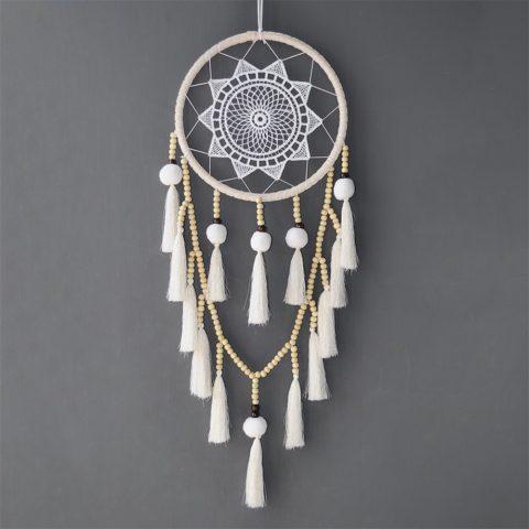 Artilady Macrame Dream Catchers for Bedroom - Boho Wall Hanging Handmade Woven Dream Catcher for Home Decor Ornament Craft Gift (Pom)