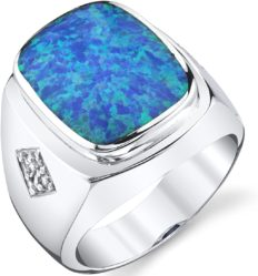 Men's Created Blue Opal Knight Ring Sterling Silver Size 10