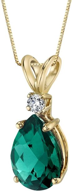 Peora Created Emerald with Genuine Diamond Pendant in 14K Yellow Gold, Elegant Teardrop Solitaire, Pear Shape, 10x7mm, 1.75 Carats total