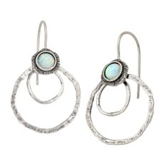 Silpada 'Iced Out' Created Opal Drop Earrings in Sterling Silver