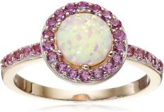 14K Rose Gold Plated Sterling Silver Created Pink Opal and Created Pink Sapphire Halo Ring, Size 7