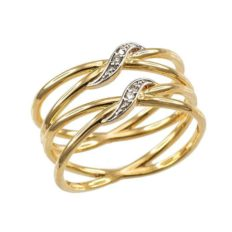 """Ladies' 10k Yellow Gold Diamond-Accented Double""""X"""" Criss-Cross Long Ring"""