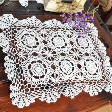 Merryfeel Handmade Crochet Lace Placemats,100% Cotton Crochet White - Set of 4-12x17 Inch