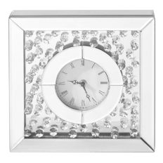 """Decor Central Crystal Square Table Clock, 10"""", Clear Finish"""