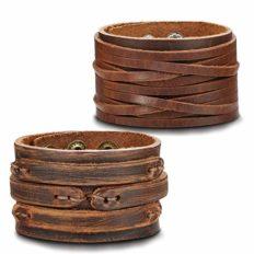 Thunaraz 2PCS Leather Cuff Bracelet Wrap Wristband Button Bangle for Men Women