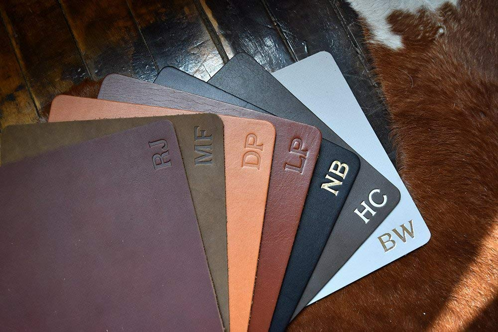Customized Leather Mouse Pad | WFH | Personalized Monogrammed Initials | 7.5 x 9 In. | Classic | High Quality | Brown, Black, Tan, Gray & Red | Great Gift | Genuine Leather | Made In USA | Ships Free