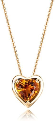 Carleen Solid 14K Yellow Gold Birthday Heart Shape Gemstone November Solitaire Citrine Birthstone Necklace Pendant Delicate Dainty Fine Jewelry for Women Girl, 18 inch