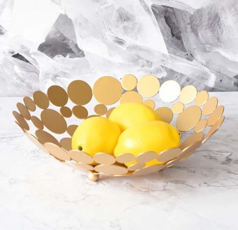 Metal Creative Countertop Fruit Basket Bowl, Large Round Gold Decorative Table Centerpiece Holder Stand for Fruit Vegetable, Bread, Candy and Other Household Items, 11.6 Inch (Gold)