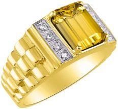RYLOS Designer Emerald Cut Garnet & Diamond Ring - January Birthstone