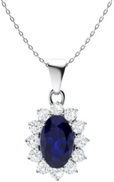 Diamondere Natural and Certified Oval Blue Sapphire and Diamond Petite Necklace in 14k White Gold   0.28 Carat Pendant with Chain