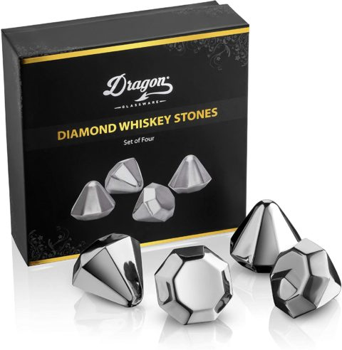 Dragon Glassware Diamond Whiskey Chilling Stones, Reusable Stainless Steel Ice Cubes for Colder Drinks, Perfect Gift Item for Men, Set of 4
