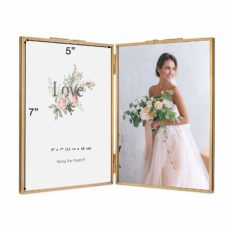 Rising Star Brass Frame, Double 5x7 Folding Picture Frames, Gold Metal Pressed Glass Photo Frame