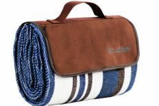 Extra Large Picnic & Outdoor Blanket Dual Layers for Outdoor Water-Resistant Handy Mat Tote Spring Summer Blue and White Striped Great for The Beach, Camping on Grass Waterproof Sandproof (SC-CM-01)