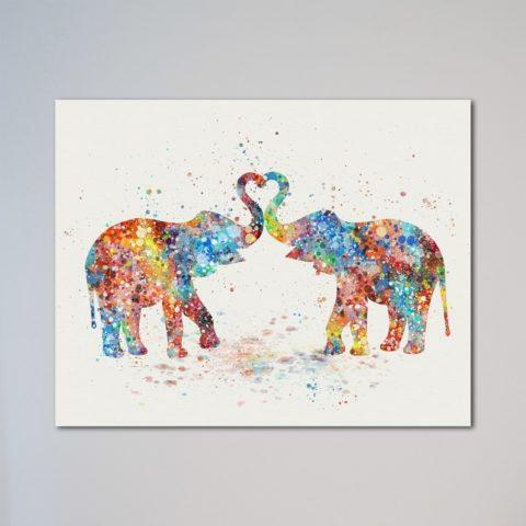 "Elephants Love Heart Gift 11"" x 14"" Print"