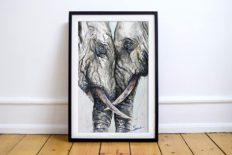 Two Elephants Watercolor Painting Wall Art Print Animal Home Decor Wildlife Artwork Gift for Her Signed Dated Artist Eric Sweet