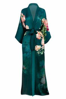 Women's Charmeuse Kimono Robe Long - Watercolor Floral - Coral Chrysanthemum- Emerald (Green)