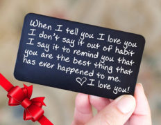 Wallet Card Love Note   Engraved Aluminum Anniversary Gifts for Men, Husband Gifts from Wife   Boyfriend Gift Idea   Valentines Day   Meaningful & Romantic Mini Wallet Insert, Long Distance