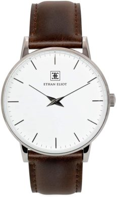 Ethan Eliot Classic Minimalist Men's Watch, Oxford 40mm Silver Watch for Men, Stainless Steel Silver Case, White Face & Genuine Brown Leather Band, 5ATM Water Resistant Watch (EE40-SW34BR)