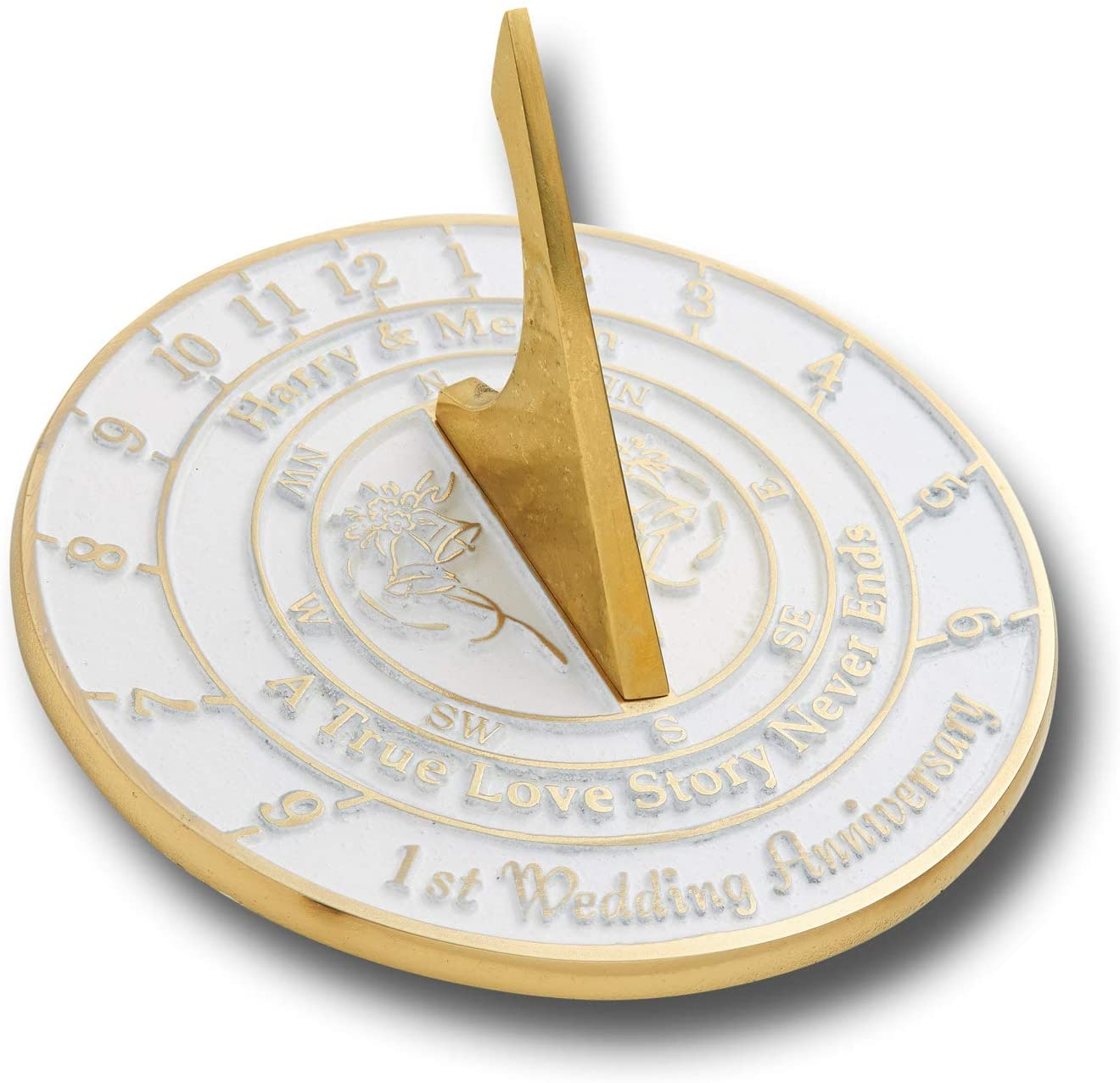 The Metal Foundry Personalized First Wedding Anniversary Sundial Gift Idea is A Great Present for Him, for Her Or for A Couple to Celebrate 1 Year of Marriage