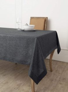 Solino Home 100% Pure Linen Tablecloth - European Flax Natural Fabric, Square Tablecloth - Athena 36 x 36 Inch Charcoal Grey